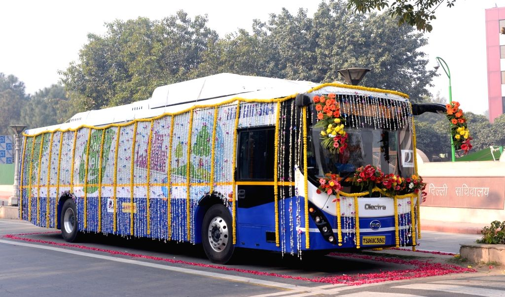 New Delhi: eBuzz K9 - the electric bus that was flagged off by Delhi Transport Minister Kailash Gahlot. The bus has been launched by the Delhi Government with an aim to combat the increasing pollution levels in the capital, on Dec 27, 2018. (Photo: I - Kailash Gahlot