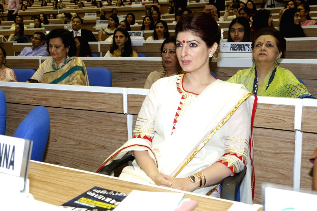 : New Delhi: Entrepreneur, Author and producer Twinkle Khanna during the 34th Annual Session of FICCI Ladies Organisation (FLO) at Vigyan Bhavan in New Delhi on April 5, 2018. (Photo: Amlan ...