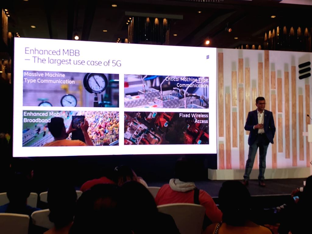New Delhi: Ericsson India Head of Network Solutions, Market Area South-East Asia, Oceania and India, Nitin Bansal addresses during a programme to showcase use cases of 5G and Internet of Things (IoT) in New Delhi, on April 10, 2019. (Photo: IANS)