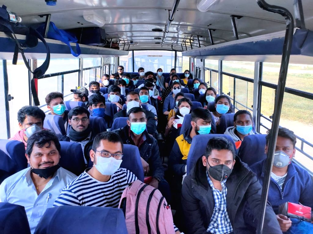 New Delhi: Evacuees from Rome, Italy being sent to ITBP Quarantine Facility, Chhawla in New Delhi from the Indira Gandhi International Airport in ITBP Buses, amid COVID-19 pandemic, on March 22, 2020. (Photo: IANS)