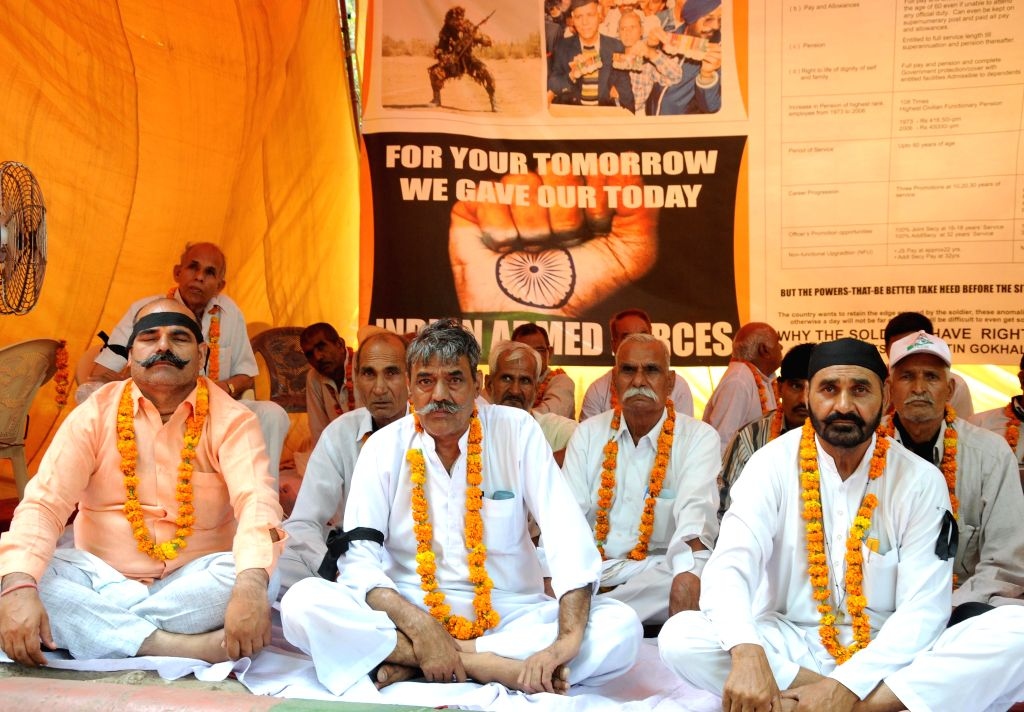 Ex-servicemen continue their hunger strike for the third consecutive day to press for `One Rank One Pension` at  Jantar Mantar in New Delhi, on June 17, 2015.