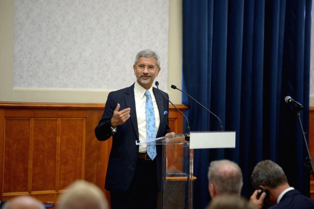 New Delhi: External Affairs Minister S. Jaishankar addresses at the Hungarian Annual Ambassadors' Conference in Budapest, Hungary on Aug 26, 2019. (Photo: IANS/MEA) - S. Jaishankar