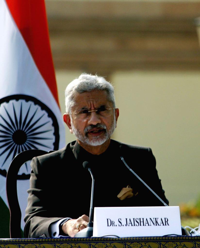New Delhi: External Affairs Minister S. Jaishankar addresses the India-USA 2+2 Dialogue, at Hyderabad House in New Delhi on Oct 27, 2020. (Photo: IANS) - S. Jaishankar