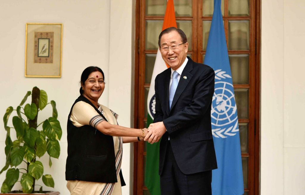External Affairs Minister Sushma Swaraj meets Secretary General of United Nations Ban Ki-Moon in New Delhi on Jan 12, 2015.