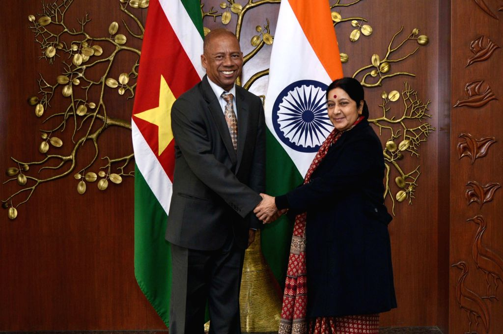 External Affairs Minister Sushma Swaraj during a meeting with Suriname Foreign Affairs Minister Winston G. Lackin in New Delhi, on Jan 13, 2015.