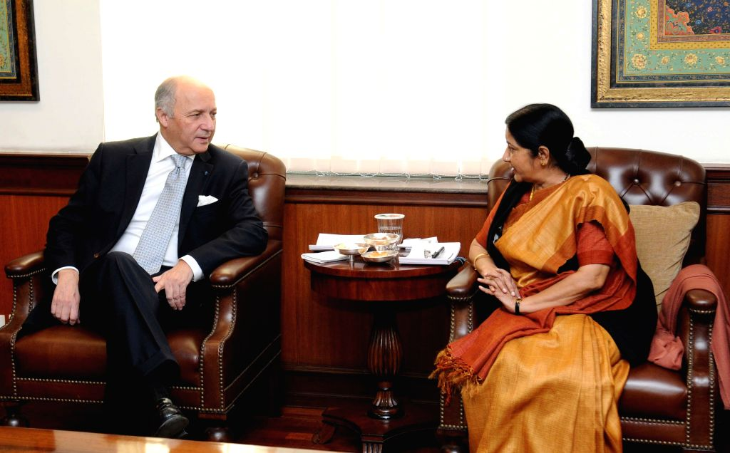 External Affairs Minister Sushma Swaraj meeting her French counterpart Laurent Fabius in New Delhi on Feb. 5, 2015.  ( Photo : IANS )
