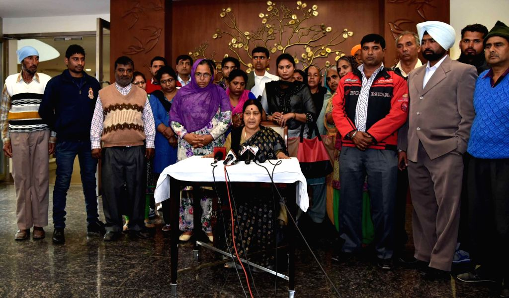 External Affairs Minister Sushma Swaraj meets with the family members of Indian hostages held in captivity in Iraq in New Delhi on Feb. 21, 2015.