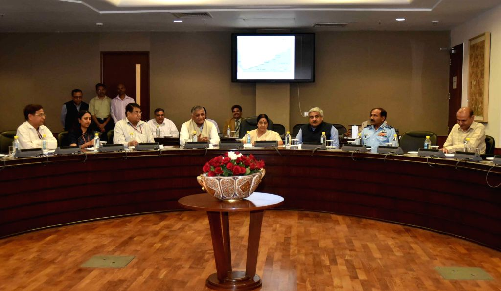 External Affairs Minister Sushma Swaraj, Union Minister of State for External Affairs General (Retd.) V.K. Singh, the Chief of the Air Staff, Air Chief Marshal Arup Raha and others during ... - Sushma Swaraj and K. Singh