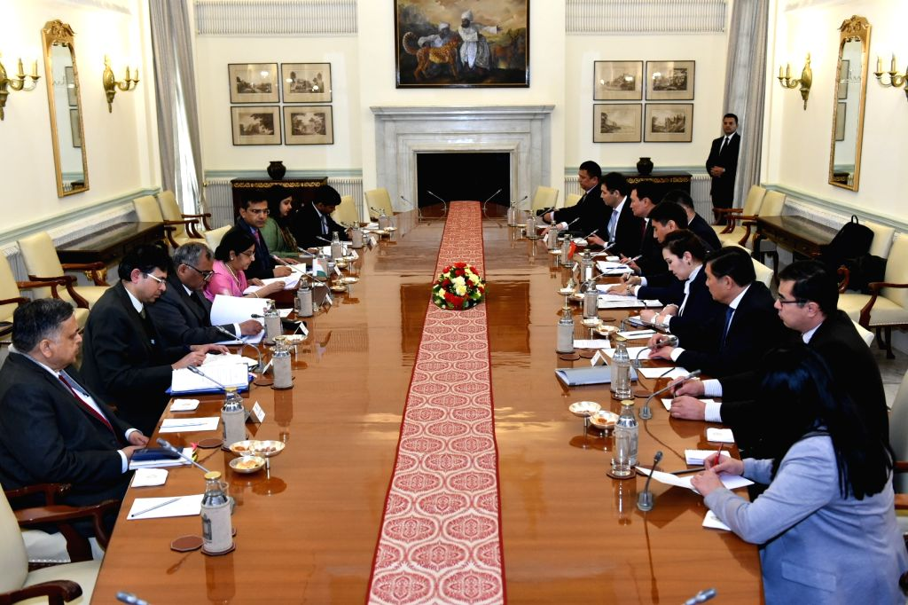 New Delhi: External Affairs Minister Sushma Swaraj and Kyrgyzstan Foreign Affairs Minister Aidarbekov Chingiz Azamatovich hold delegation level talks at Hyderabad House in New Delhi, on Jan 29, 2019. (Photo: IANS/MEA) - Sushma Swaraj