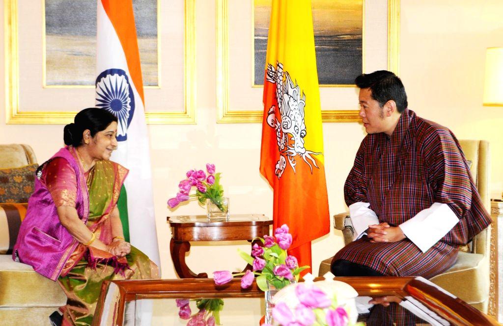 New Delhi: External Affairs Minister Sushma Swaraj calls on Jigme Khesar Namgyel Wangchuck, King of Bhutan in New Delhi on Nov 1, 2017. (Photo: IANS/MEA) - Sushma Swaraj