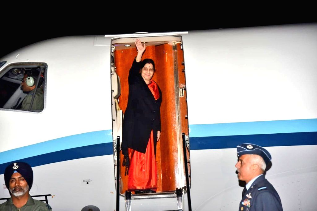New Delhi: External Affairs Minister Sushma Swaraj leaves for Wuzhen, China to participate in 16th Foreign Ministers Meeting of Russia, India and China, from New Delhi on Feb 26, 2019. (Photo: IANS/MEA) - Sushma Swaraj and Meeting