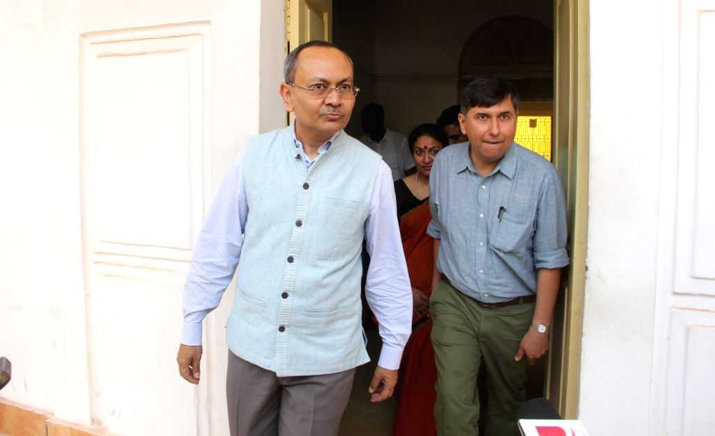 Fabindia MD William Bissell and CEO Subrata Dutta arrives to appear before Goa Police Crime Branch at Ribandar in New Delhi, on April 10, 2015.