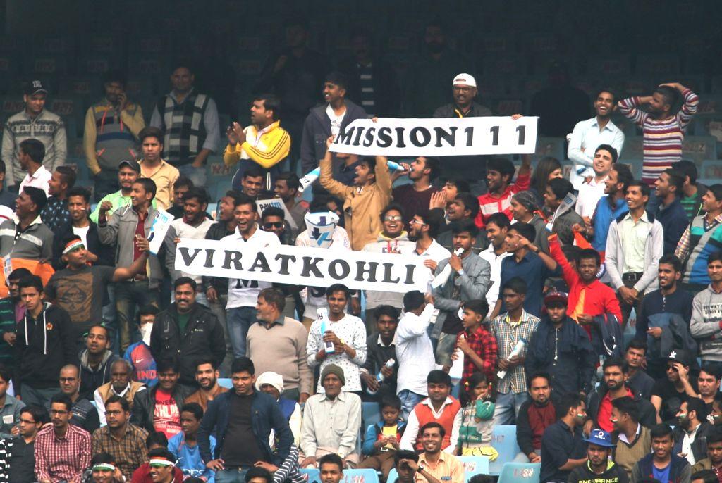 :New Delhi: Fans on Day 4 of the third test match between India and Sri Lanka at Feroz Shah Kotla Stadium in New Delhi on Dec 5, 2017. .