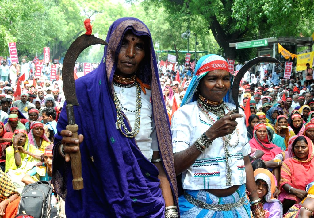 Farmers participate in Bhumi Adhikar Sangharsh rally organised to protest against the land acquisition ordinance in New Delhi, on May 5, 2015.