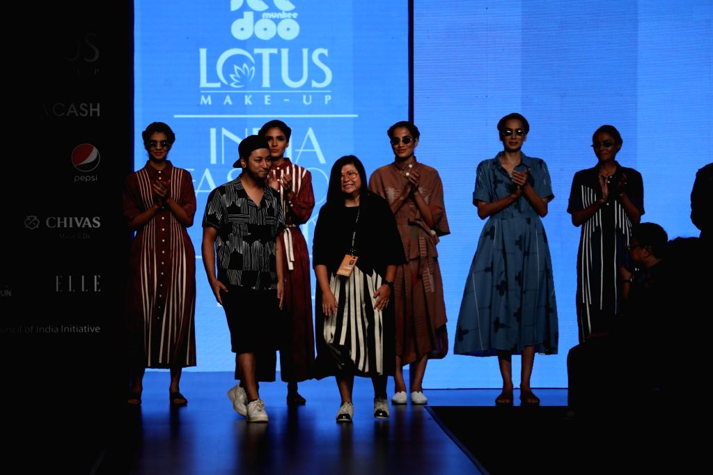 New Delhi: Fashion designer duo Teresa Laisom and Utsav Pradhan on the second day of Lotus Make-up India Fashion Week where collections from her fashion label 'Abstract' were showcased, in New Delhi on Oct 10, 2019. (Photo: IANS)