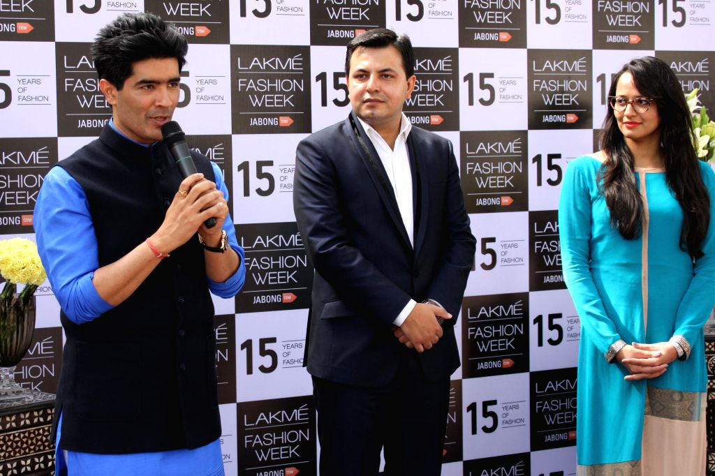 Fashion designer Manish Malhotra during a press conference regarding Lakme Fashion Week, in New Delhi on Feb 26, 2015. - Manish Malhotra