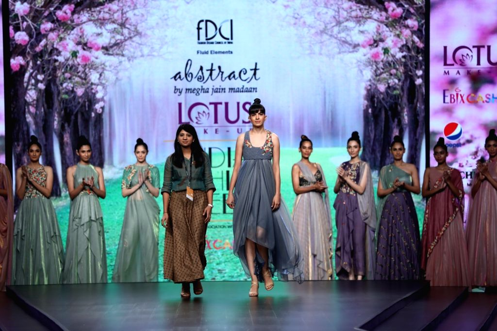 New Delhi: Fashion designer Megha Jain Madaan on the second day of Lotus Make-up India Fashion Week where collections from her fashion label 'Abstract' were showcased, in New Delhi on Oct 10, 2019. (Photo: IANS) - Megha Jain Madaan