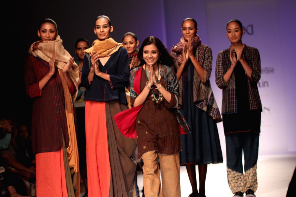 Fashion designer Paromita Banerjee during the Amazon India Fashion Week in New Delhi, on March 27, 2015.