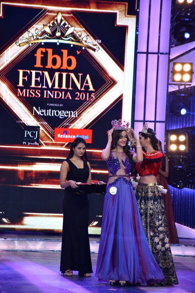 Femina Miss India 2014 Koyal Rana crowns Aditi Arya as Femina Miss India World 2015 at Yash Raj Studio in Mumbai.