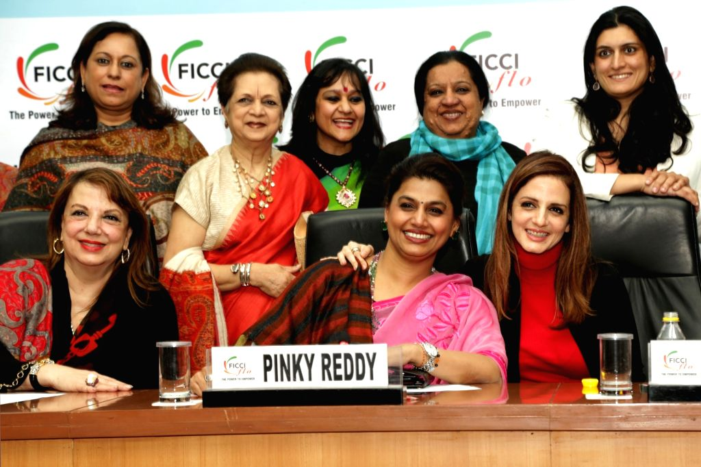 "New Delhi: FICCI FLO President Pinky Reddy with actresses Sussanne Khan, Zarine Khan and others during an interactive session om ""Successful Mothers & Daughters in the Business of Luxury"" in New Delhi on Feb 1, 2019. (Photo: Amlan Paliwal/IANS) - Sussanne Khan, Zarine Khan and Reddy"