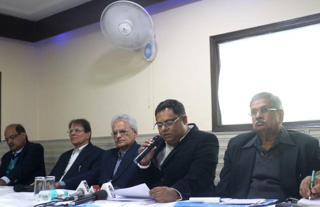 New Delhi: Film Federation of India President Firdausul Hasan addresses a press conference in New Delhi on Feb 12, 2019. (Photo: IANS)