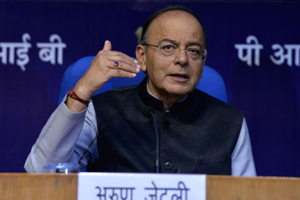 : New Delhi: Finance Minister Arun Jaitley addresses a press conference after the presentation of Union Budget 2018-19, in New Delhi on Feb 1, 2018. (Photo: IANS).
