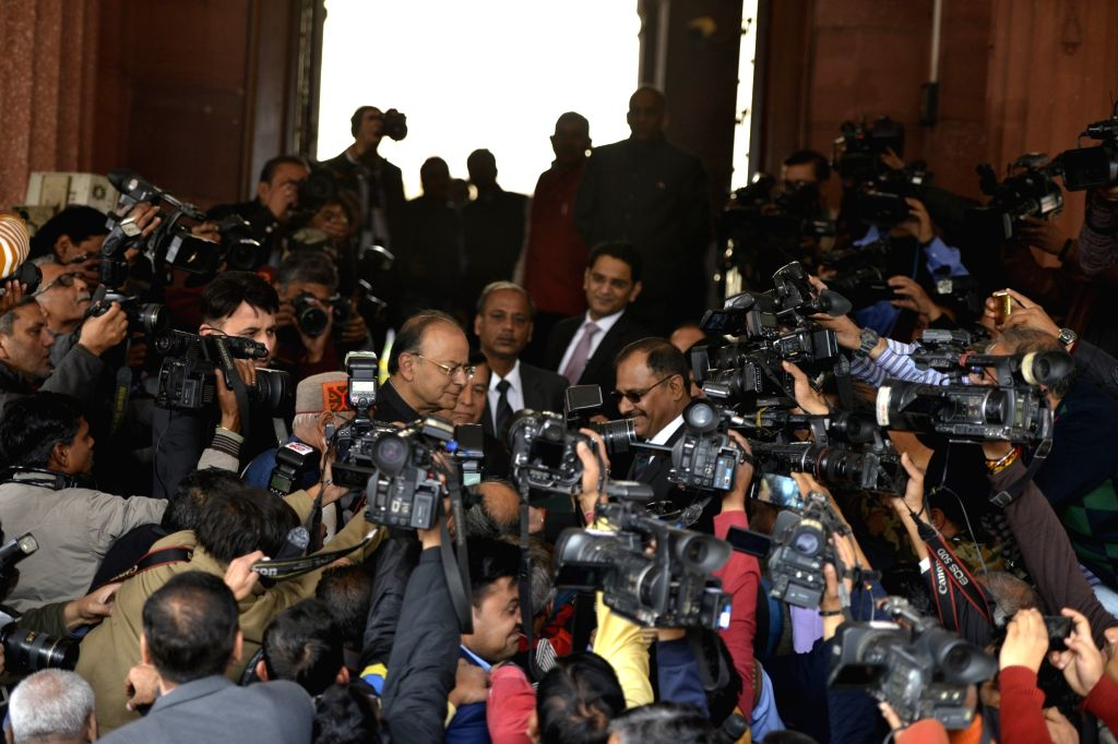 :New Delhi: Finance Minister Arun Jaitley talks to the press after presenting Union Budget 2018-19 at Parliament on Feb 1, 2018. (Photo: IANS).