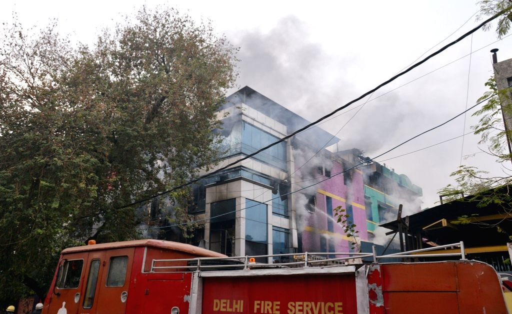 New Delhi: Fire breaks out at a factory in Naraina Industrial area Phase-1 of Delhi on Feb 14, 2019. (Photo: IANS)