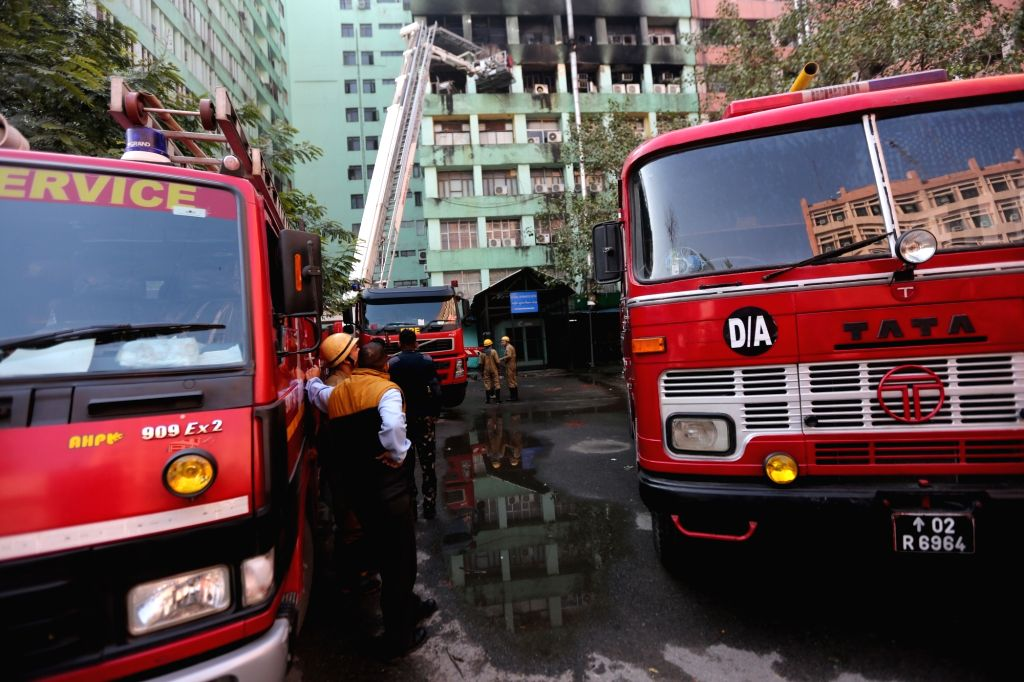 New Delhi: Fire engines parked outside Pandit Deendayal Antyodaya Bhawan, formerly known as Paryavaran Bhawan where a fire broke out killing a CISF trooper and gutting important government documents, at the CGO Complex, in New Delhi, on March 6, 2019