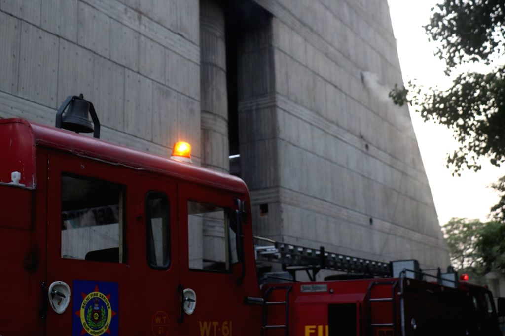 New Delhi:Fire engines parked outside the North Delhi Municipal Corporation (NDMC) building where a fire broke out, in New Delhi on June 1, 2019. (Photo: IANS)