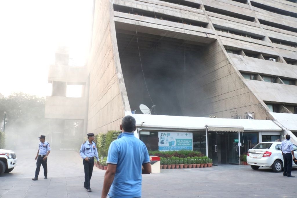 New Delhi: Firefighters at the North Delhi Municipal Corporation (NDMC) building where a fire broke out, in New Delhi on June 1, 2019. (Photo: IANS)