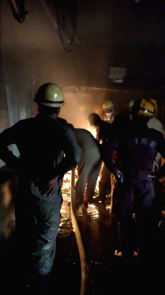New Delhi: Firefighters douse fire that broke out at the North Delhi Municipal Corporation (NDMC) building, in New Delhi on June 1, 2019. (Photo: IANS)