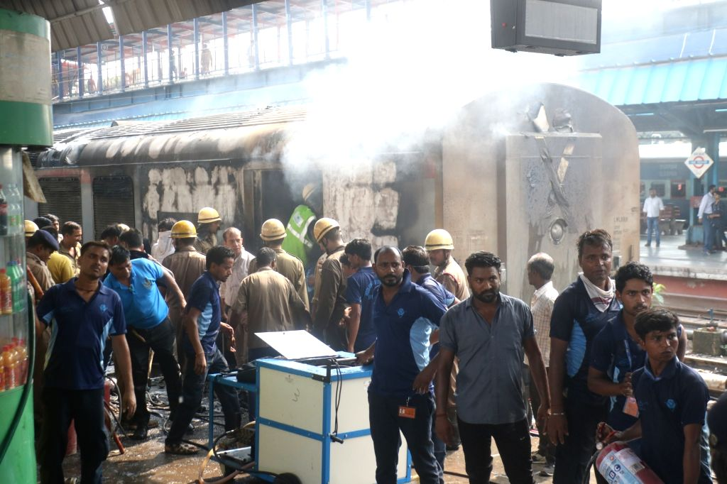 New Delhi: Firefighting operations underway at the New Delhi railway station where a fire broke out in the rear power car of the Chandigarh-Kochuvalli Express, on Sep 6, 2019. No one was injured in the incident that took place at 1.40 p.m. at platfor