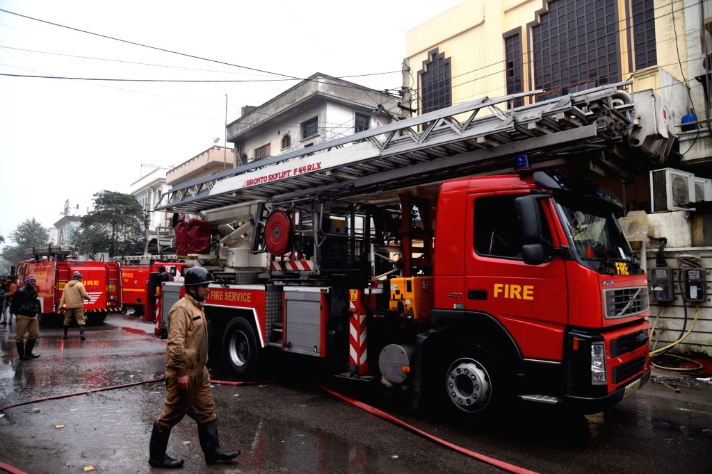 New Delhi: Firefighting operations underway at the three-storeyed printing press where fire claimed a life in the Patparganj industrial area of New Delhi on Jan 9, 2020. The fire broke out at the ground and second floor of the building at around at 2