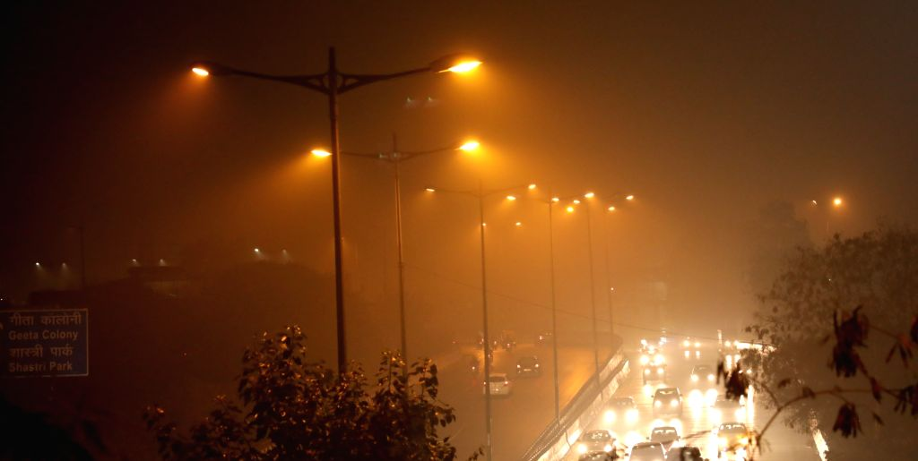 New Delhi: Fog engulfs the national capital on a chilly winter night, on Jan 8, 2020. (Photo: IANS)