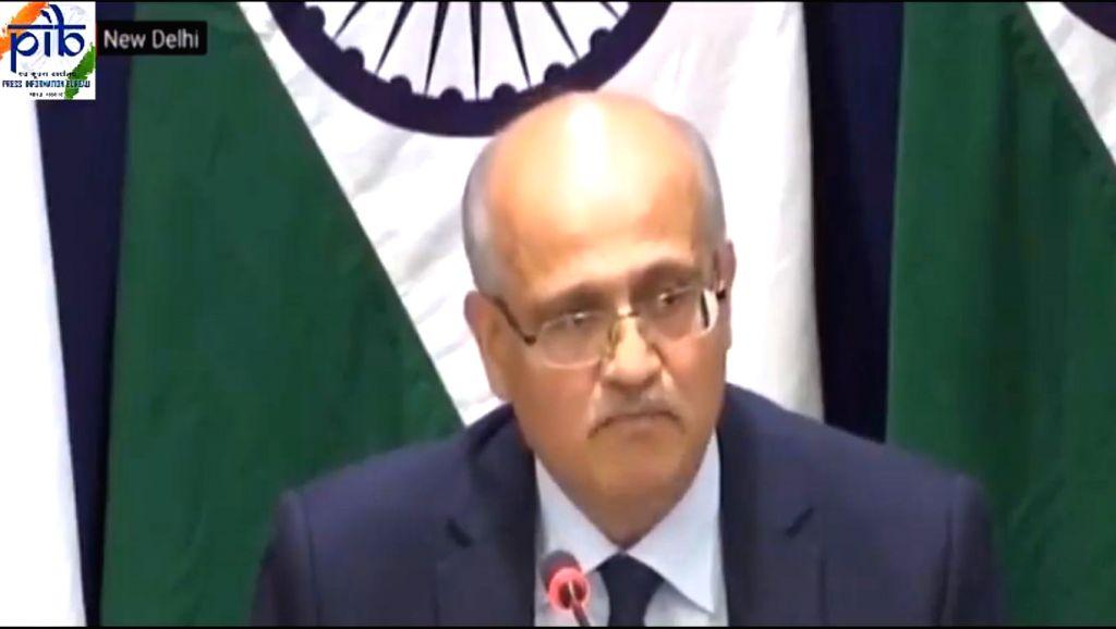 New Delhi: Foreign Secretary Vijay Gokhale during a press briefing in New Delhi on Feb 26, 2019. (Screen Grab: PIB)