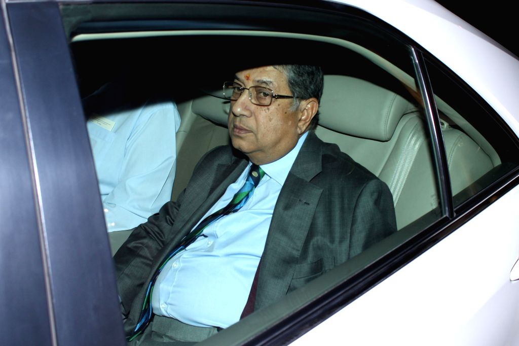 Former BCCI president and current ICC chairman N. Srinivasan  arrives to attend the marriage ceremony of cricketer Suresh Raina in New Delhi on April 3, 2015.