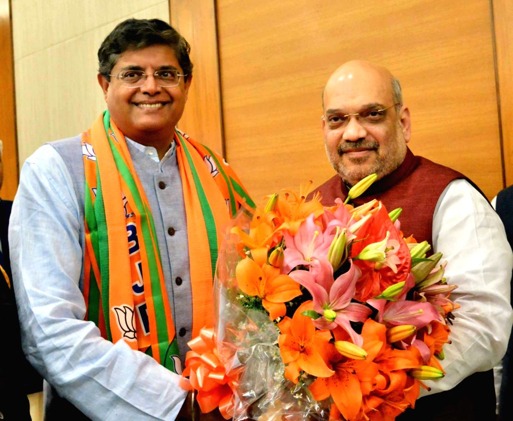 New Delhi: Former Biju Janata Dal (BJD) MP Baijayant Jay Panda who joined the Bharatiya Janata Party (BJP) with party chief Amit Shah in New Delhi on March 4, 2019. (Photo: IANS) - Amit Shah