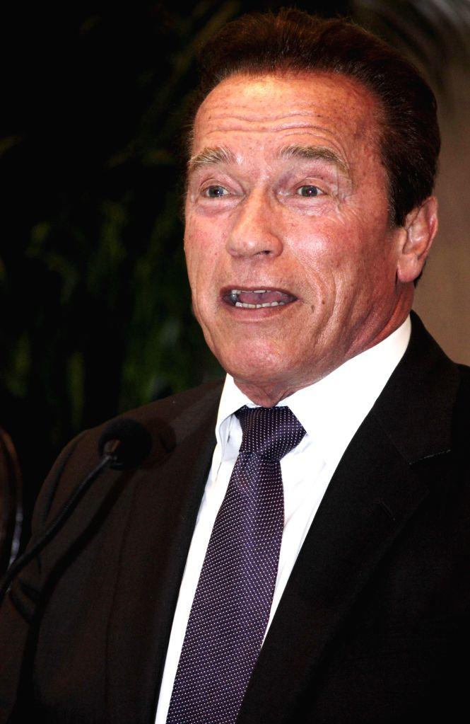 Former Governor of California Arnold Schwarzenegger at the Delhi Sustainable Development Summit in New Delhi on Feb. 5, 2015.