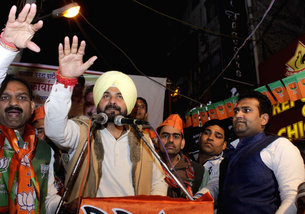 Former Indian cricketer Navjot Singh Sidhu during an election campaign rally for BJP in New Delhi on Jan. 29, 2015.
