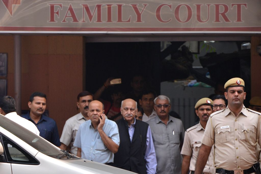 : New Delhi: Former Minister M.J. Akbar at a Delhi Court on Oct 31, 2018. The court recorded Akbar's statement as a complainant witness in a criminal defamation suit filed by him against ...