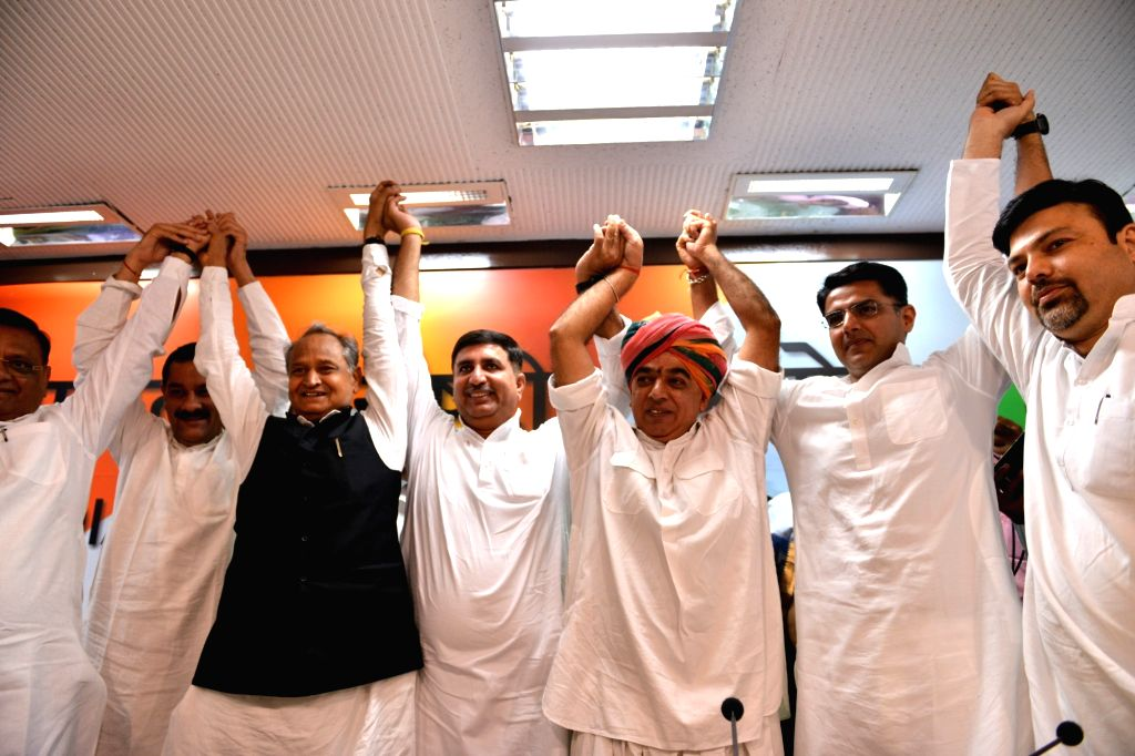 :New Delhi: Former Rajasthan BJP MLA Manvendra Singh, the son of BJP veteran and former Union Minister Jaswant Singh, joins Congress in the presence of party leaders Ashok Gehlot and Sachin Pilot ...