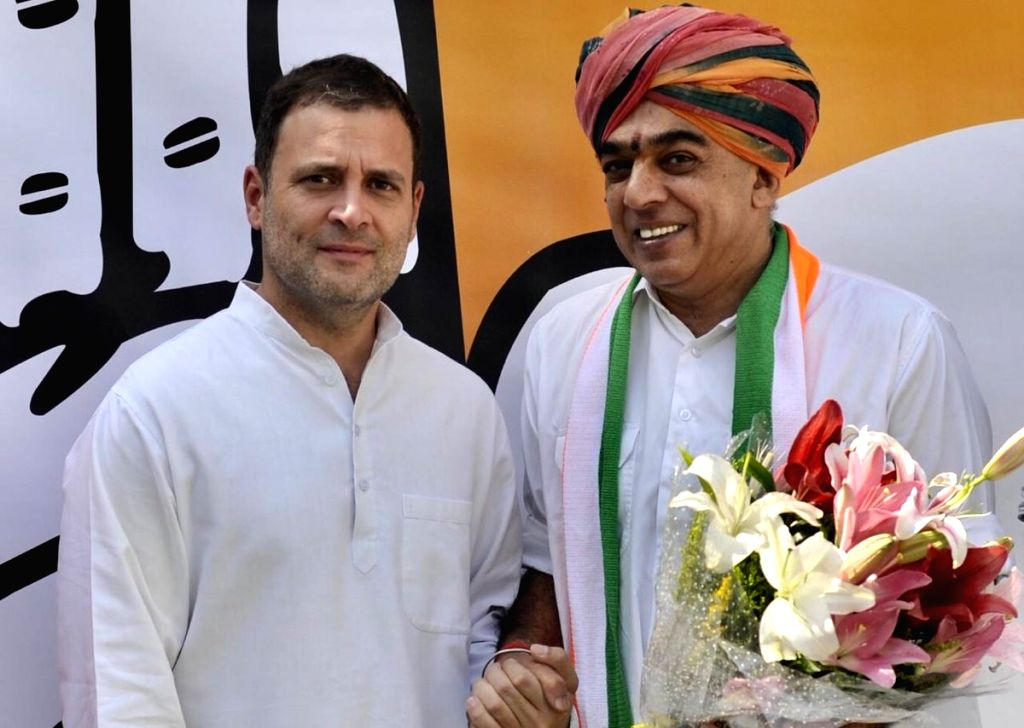 : New Delhi: Former Union Minister and senior BJP leader Jaswant Singh's son Manvendra Singh, who quit the Bharatiya Janata Party in September, joins Congress in the presence of party's ...