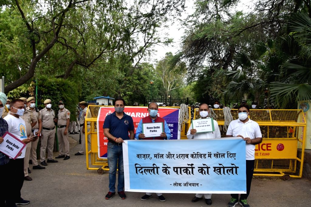 New Delhi:Former Union Minister Vijay Goel along with other leaders during a protest against Delhi govt. outside Lodhi Garden Reopening Parks in New Delhi on Wednesday June 16, 2021. - Vijay Goel
