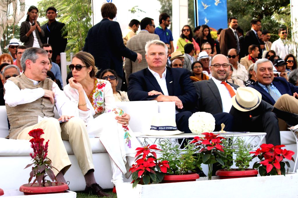 German Ambassador to India Michael Steiner witnesses the final match of Indian Open Polo Championship 2014 between Sahara Warrior and Jindal Panther in New Delhi, on Nov 16, 2014.