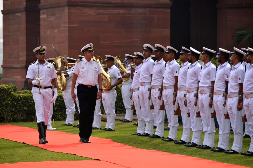 :New Delhi: German Navy Chief Vice Admiral Andreas Krause inspects the Guard of Honour in New Delhi, on Oct 18, 2018. (Photo: IANS).
