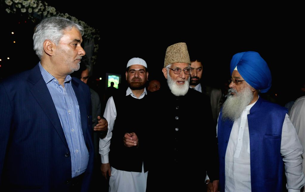 Hardline Hurriyat Conference chairman Syed Ali Shah Geelani  during a programme organised at the Pakistan High Commission on Pakistan National Day, in New Delhi on March 23, 2015.