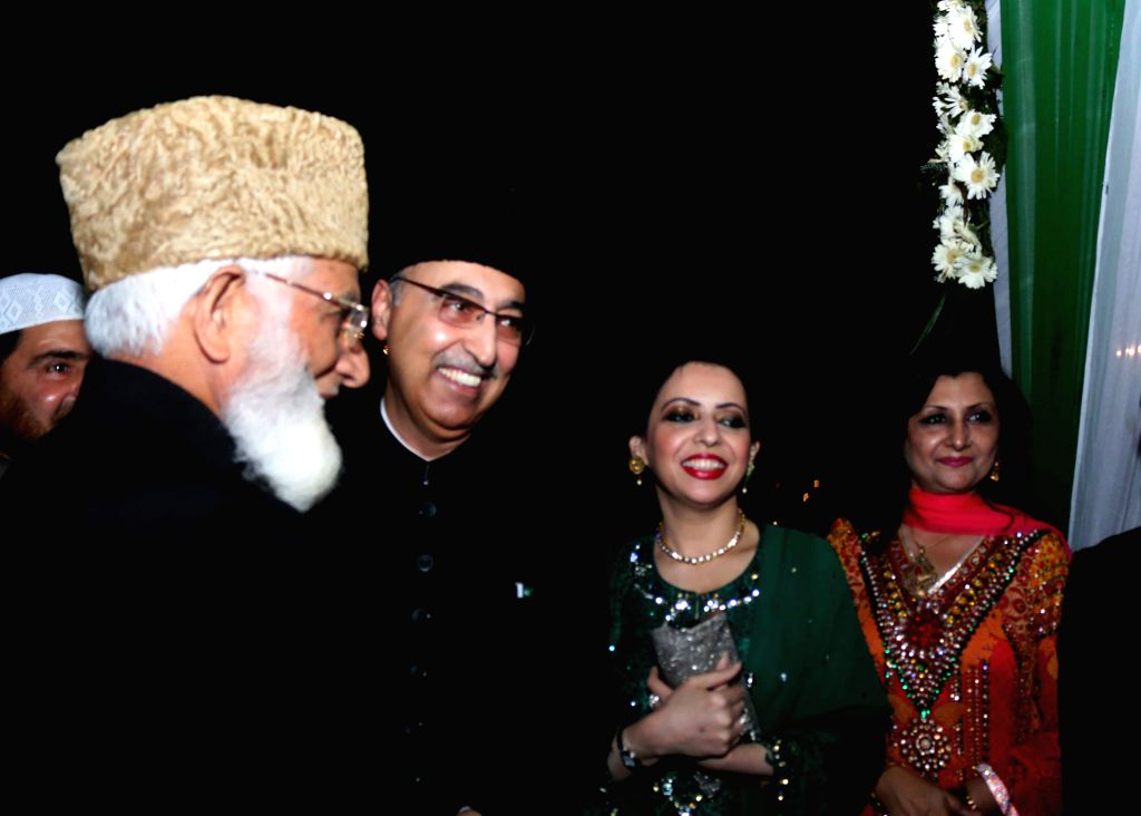 Hardline Hurriyat Conference chairman Syed Ali Shah Geelani with the Pakistan High Commissioner to India Abdul Basit during a programme organised at the Pakistan High Commission on ...
