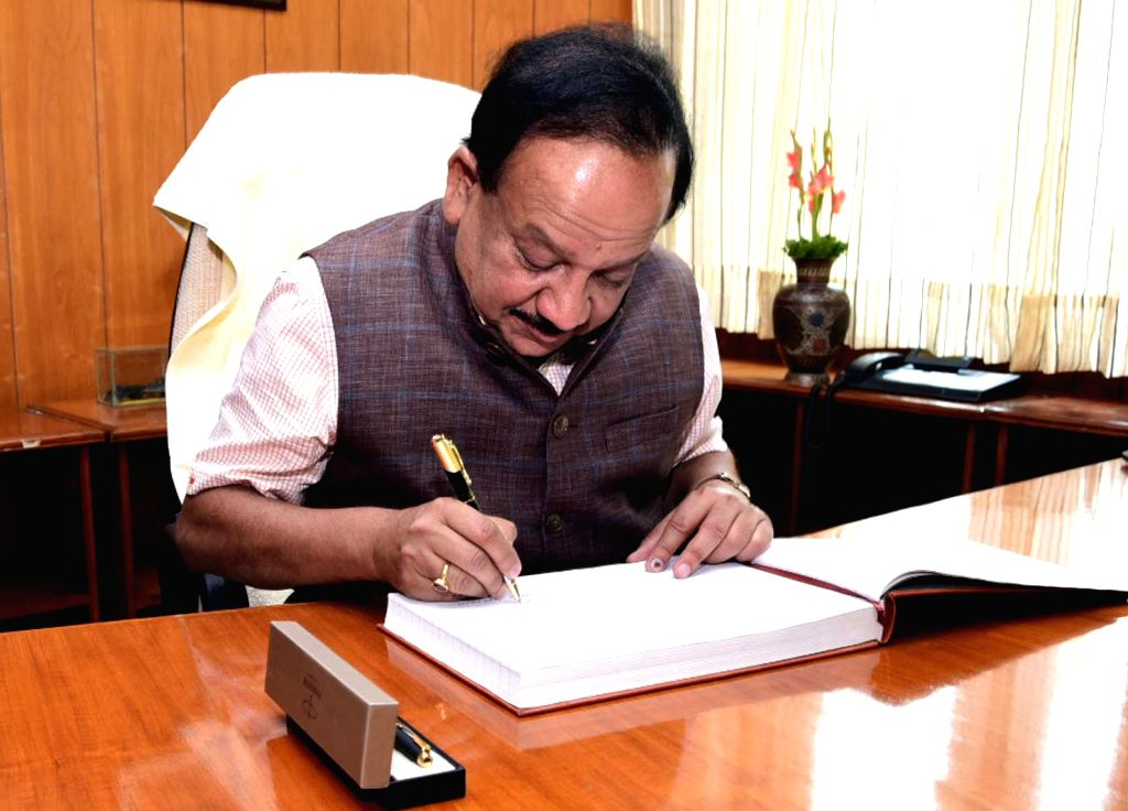 New Delhi: Harsh Vardhan takes charge as the Union Science and Technology Minister, in New Delhi on June 4, 2019. (Photo: IANS/PIB)