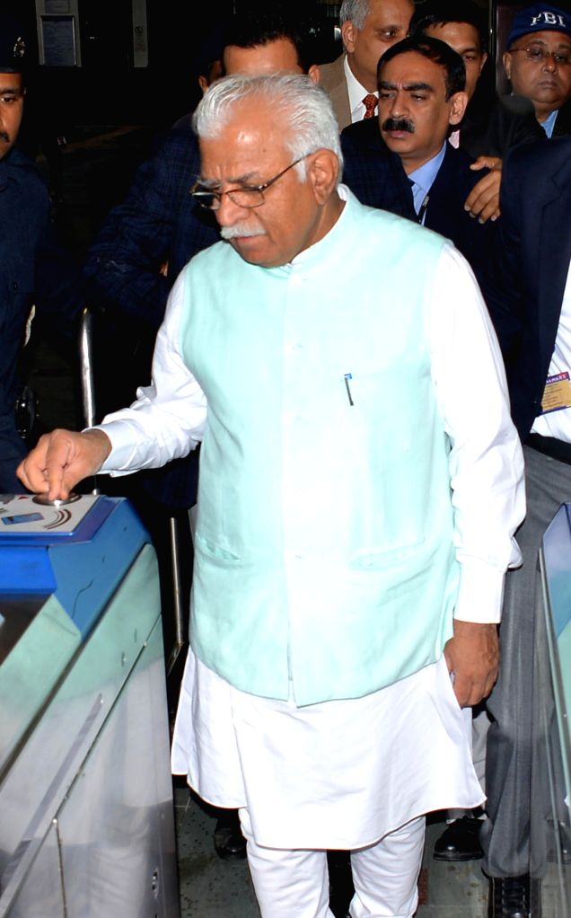 Haryana Chief Minister Manohar Lal Khattar checks out of Badarpur Metro station, Faridabad on March 3, 2015. - Manohar Lal Khattar